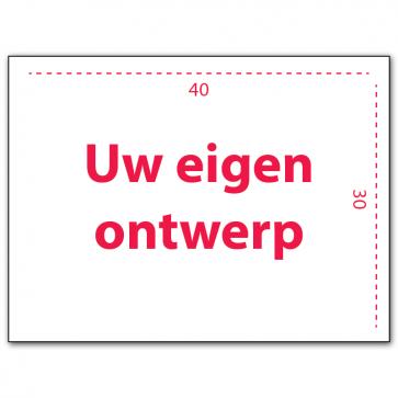 Maatwerk eigen ontwerp bord dibond 40 x 30 cm