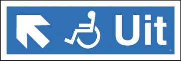 Schuin links voor de rolstoel-uitgang