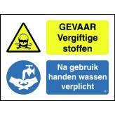 Gevaar vergiftige stoffen / Handen wassen verplicht