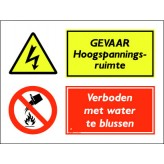 GEVAAR Hoogspanningsruimte / verboden met water te blussen