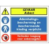 GEVAAR asbest / ademhalingsbescherming en beschermende kleding verplicht