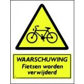 Waarschuwing fietsen worden verwijderd
